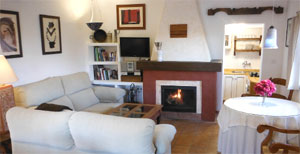 Salón con chimenea de Cortijo Algabia